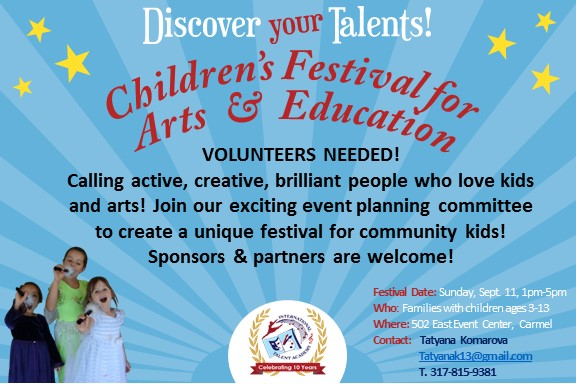 First Children's Festival for Arts and Education Seeking Volunteers!